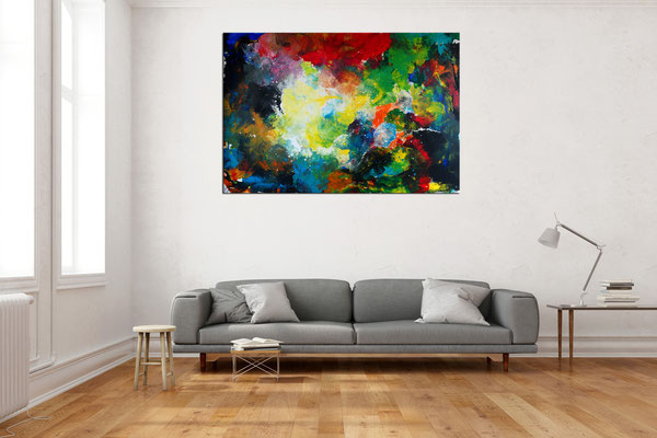 Supernova 2105 abstraktes Wohnzimmerbild Wandbild XXL Bilder BÜro handgemaltes Acrylgemälde 150x100