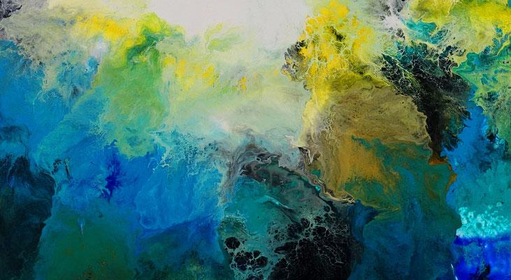 Flut Fluid Art Acrybild blau abstrakte Malerei Leinwandbild Wandbild