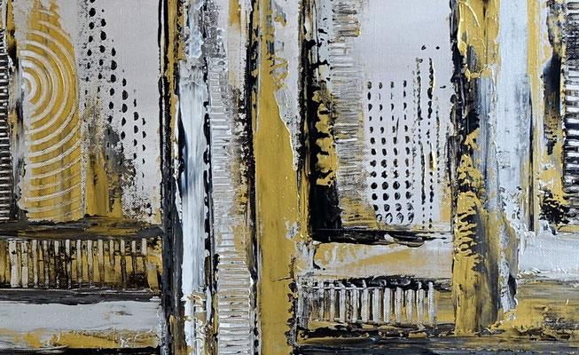 Luxus Stadt abstrakte Malerei Wandbild Silber Gold