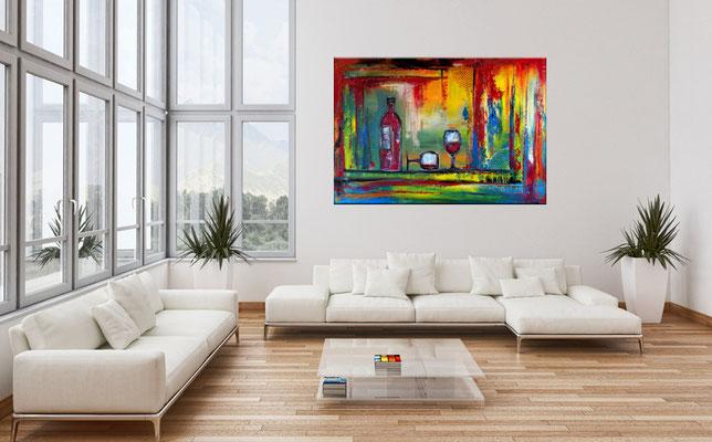Wein Gläser Weinflasche abstrakte Malerei XXl Wandbild Original Gemälde 81x116