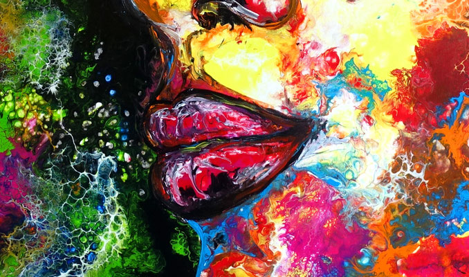 Romy abstraktes Frauengesicht handgemalt Porträt Malerei Acrylbild