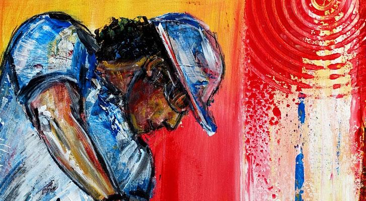 Golfer Abschlag Golfspieler Golfbilder Malerei Gemälde Wandbild Acrylbild Kunst Bilder 60x80x2