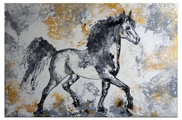 Pferdebild Gemälde Schimmel XXL handgemalt Acryl bild Unikat Galerie Keilrahmen