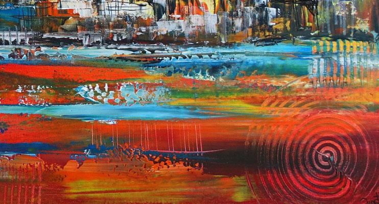 Sydney Skyline Wandbild Oper Harbour Bridge handgemalt XXL Gemälde Acrylbild