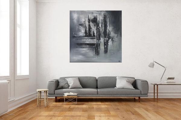 Mystic schwarz grau abstraktes Leinwandbild Gemälde Unikate