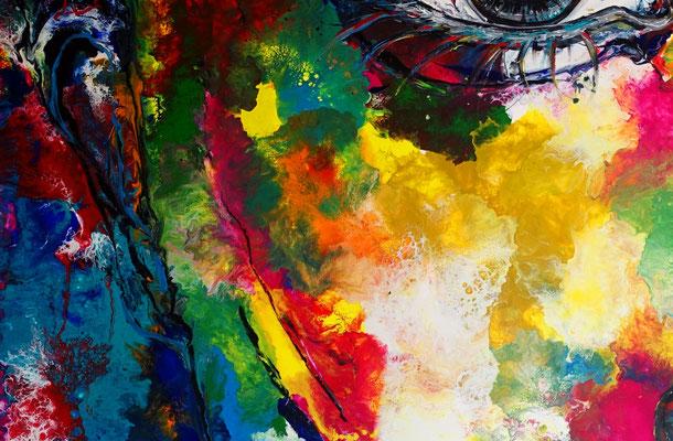 Abstrakte Gesicht Malerei 150x100 Portrait Fluid Art Gemälde