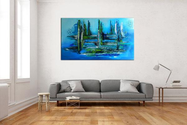 Meeresgrund abstraktes Leinwandbild blau grün handgemalt Original Gemälde Wohnzimmerbild 140x80