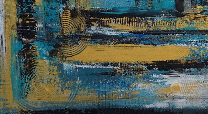 Petrol Gold Abstraktes Wandbild handgemalt Acryl Gemälde