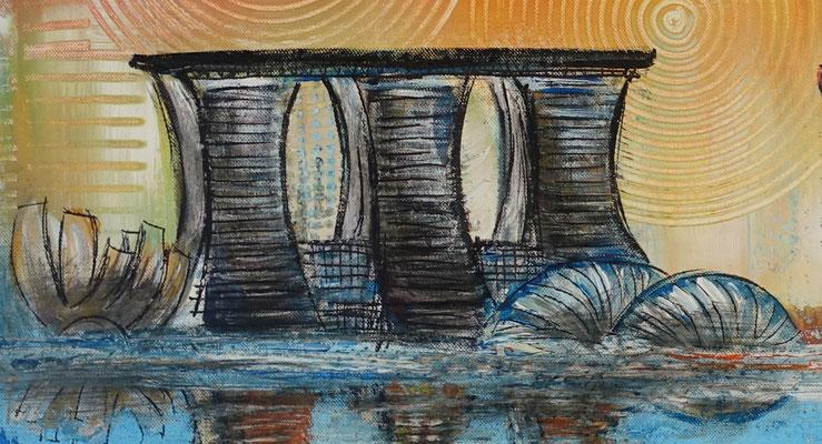 Singapur - Städtebild Gemälde Stadtbilder Malerei Skyline modernes Acrylbild 120x60