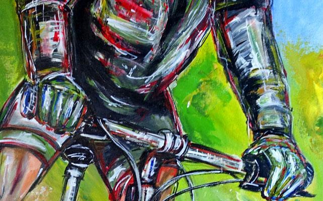 Mountainbiker Downhill handgemaltes Wandbild Gemälde Unikat Kunstbild Malerei