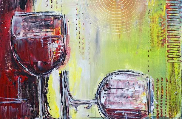 Weingläser Flasche abstrakte Malerei Rotwein Gläser Wandbild