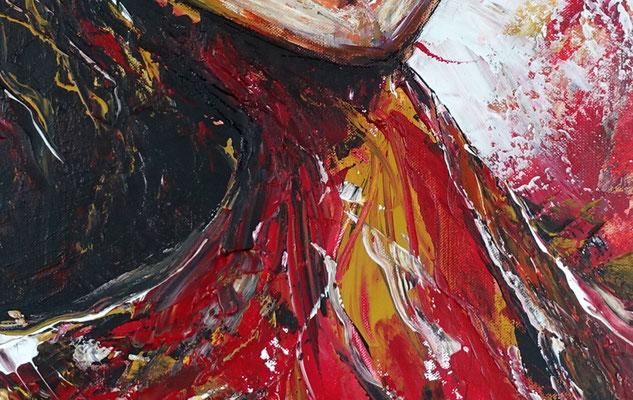 Saxophonistin querformat handgemaltes Musiker Bild Gemälde Saxophon rot