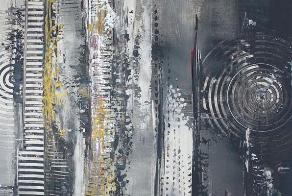 Schwarz grau Ocker abstraktes Kunstbild Malerei Gemälde Wandbild Leinwandbild