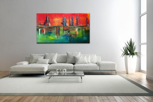 City Sunset abstraktes rot gruen kunst bilder kaufen handgemalt