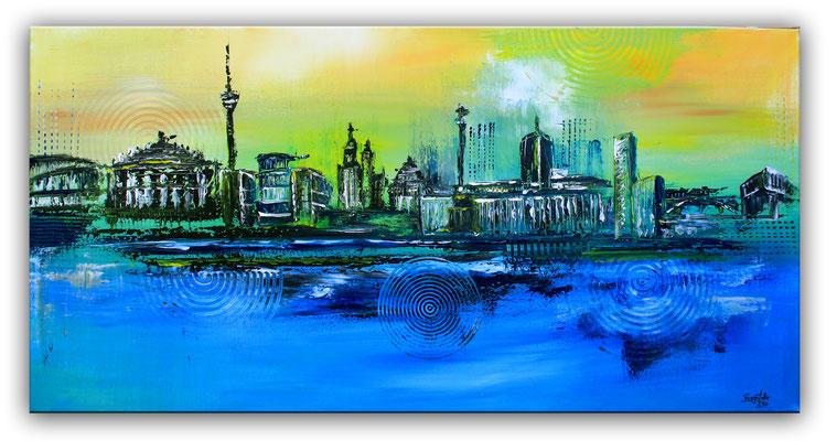 Stuttgart Skyline moderne Stadtmalerei Stadt Gemälde Bild