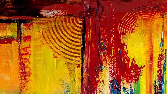Wein Gläser Weinflasche abstrakte Malerei bunt Wandbild Original Gemälde 81x116