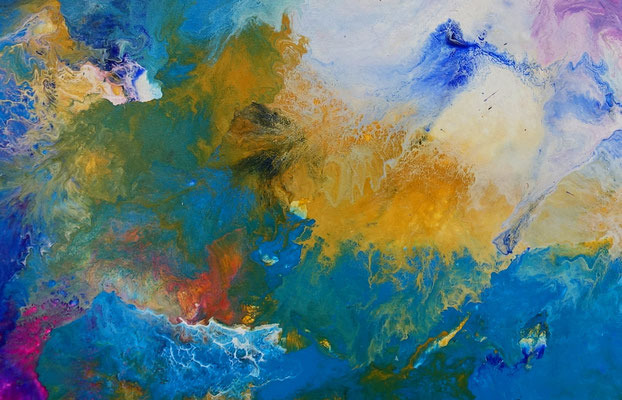 Weiße Taube abstraktes Wandbild rosa blau Original Gemälde