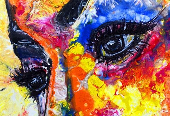 Eyeshadow 80x80 Leinwandbild Frau Gesicht abstrakt handgemalt moderne Kunst Malerei Porträt Bild