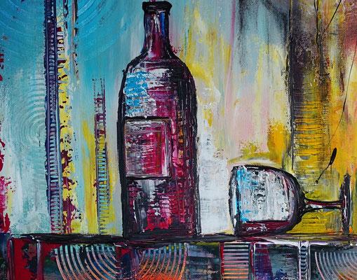 Wein Stillleben Weinflasche Gläser abstrakt Acryl Malerei Gemälde Küchenbild