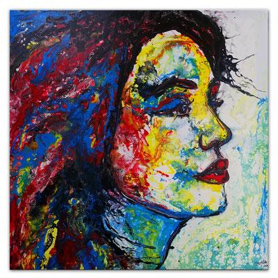 Wo bist Du Wandbild Porträt abstrakt gemalt Fluid Art