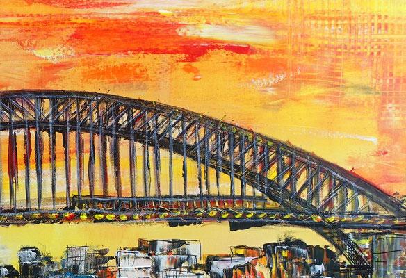 Sydney Skyline Wandbild Oper Harbour Bridge handgemalt XXL Gemälde