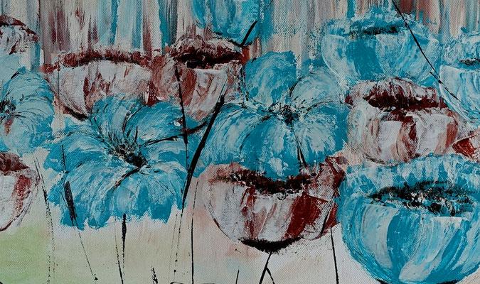 Blüten Blumen Malerei Acryl Gemälde Blüten Unikat Acrylbilder blau grün 50x100