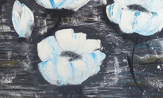 Weiße Blüten 80x80 Moderne Blumen Malerei Gemälde Wandbild