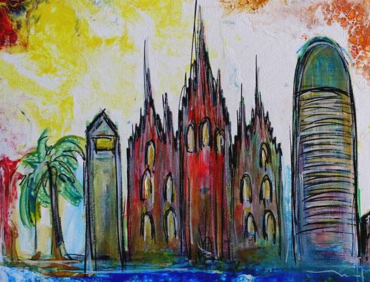 Barcelona abstrakt Sagrada Familia Torre Glories Triumphbogen Montjuïc Malerei Gemälde