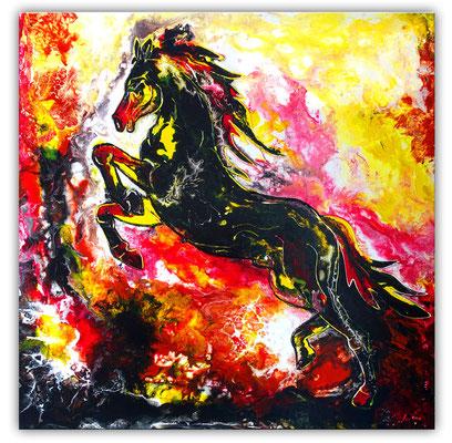 Feuerpferd 4 100x100 Pferdebild Pferd handgemalt abstrakt bunt schwarzer Hengst Malerei Gemälde