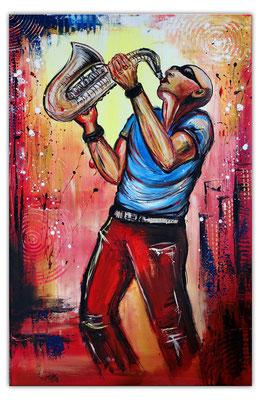 Saxophonspieler 4 handgemaltes Musikerbild Sax Player Modern Saxophonist