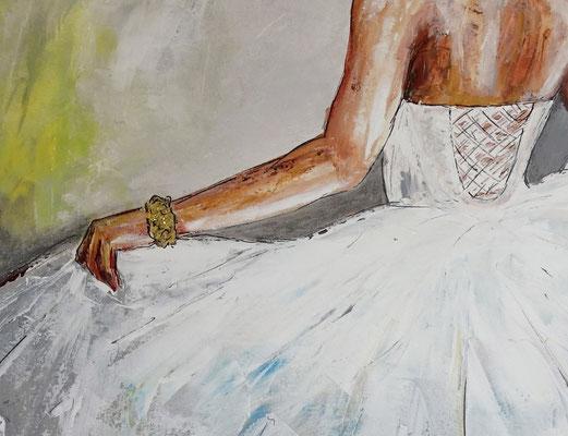Goldenes Armband Wandbild Braut Brautkleid Frauen Kunst Bild Malerei