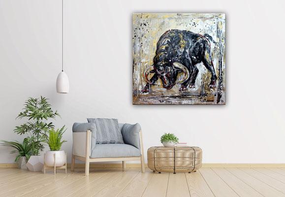 Rocky wilder Stier Bulle Malerei Tierbild handgemalt Original Gemälde Acrylbild Unikat