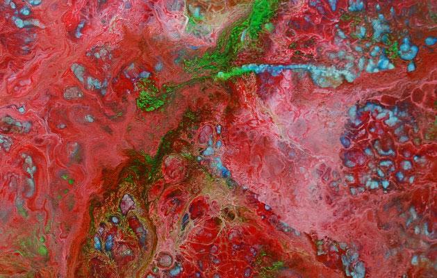 Fluid Painting rot blau abstrakte Malerei Pouring Acryl Gemälde