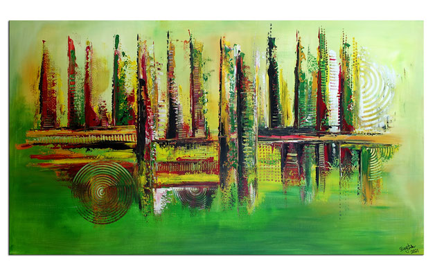 Im Park abstraktes Bild grün rot Moderne Malerei