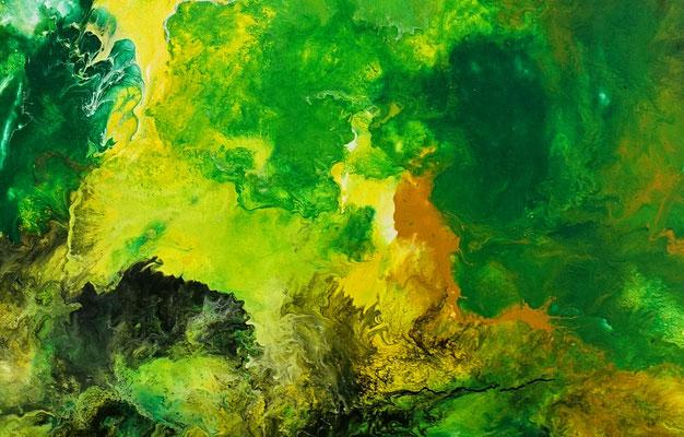 Fauna abstrakte Malerei Acrylbild grün beige Unikat Original