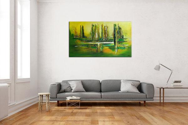 Grüne Lunge abstraktes Wandbild grün Leinwandbild handgemalt Acrylgemälde 140x80