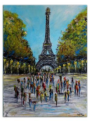 Paris Eiffelturm Malerei Kunst Wandbild handgemalt Acryl Gemälde