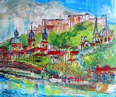Salzburg Altstadt abstrakt gemalt - Gemälde Acrylbild Kapuzinerberg Festung 100x80