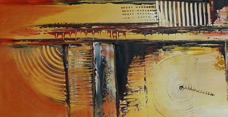 Summer abstraktes Wandbild Leinwandbild Büro Praxis bild gelb orange Malerei