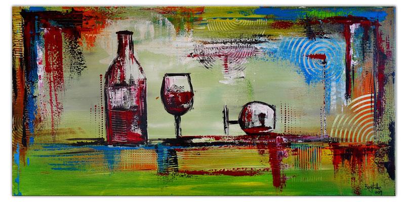 Rotwein Flasche Gläser Wein abstraktes Gemälde Acrylbild Malerei Kunstbild handgemalt
