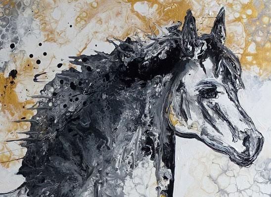 Pferdebild Gemälde Schimmel XXL handgemalt Acrylbild Unikat Galerie Keilrahmen