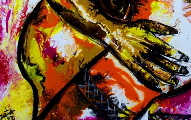Zärtlichkeiten 07-2 Erotische Malerei Pouring Acrylbild Gemälde Erotik BIld