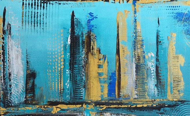 Petrol Gold Abstraktes Wandbild handgemalt Acryl