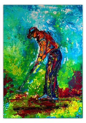 Golfer Bild Abschlag Golfbild Golfspieler handgemalt Acrylbild Malerei Gemälde Kunst Wandbild
