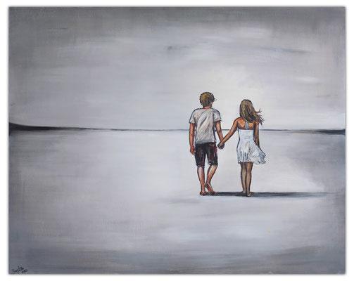 Weiter Weg Liebespaar Mann Frau Malerei Gemälde Acrylbild Unikat