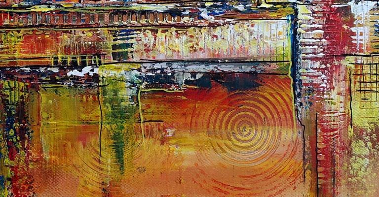 Wüstenstadt abstrakte Skyline Malerei gelb rot modernes Kunstbild Wandbild handgemalt