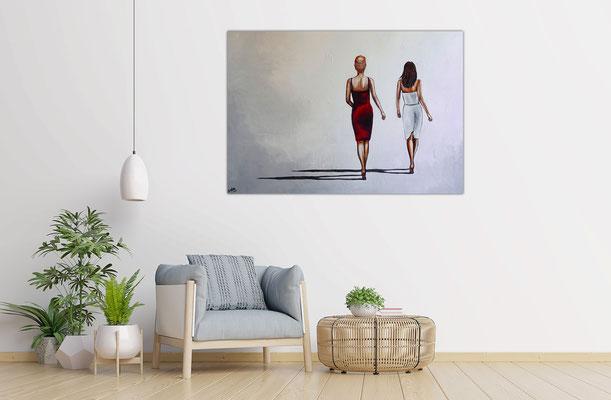 Mona & Lisa Frauen Kleider elegantes Gemälde Wohnzimmer Büro Original Kunstbild Acrylbild