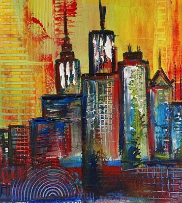 Sydney Skyline 2 abstrakt gemalt Oper Stadtbild Malerei Original Gemälde