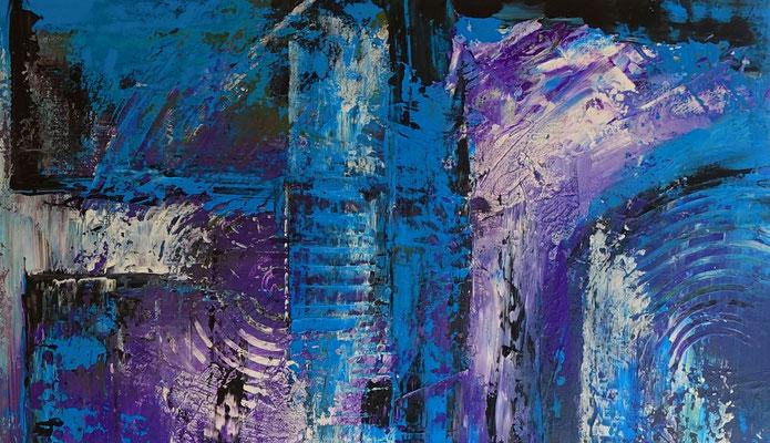 Abstraktes Kreuz blau türkis lila Acrylbild Strukturbild Malerei Gemälde