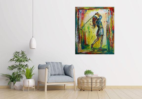 Golferin Golfspielerin Abschlag handgemalte Golfbilder Malerei Wandbilder Acrylgemälde Unikate 80x100x2 21-03-06